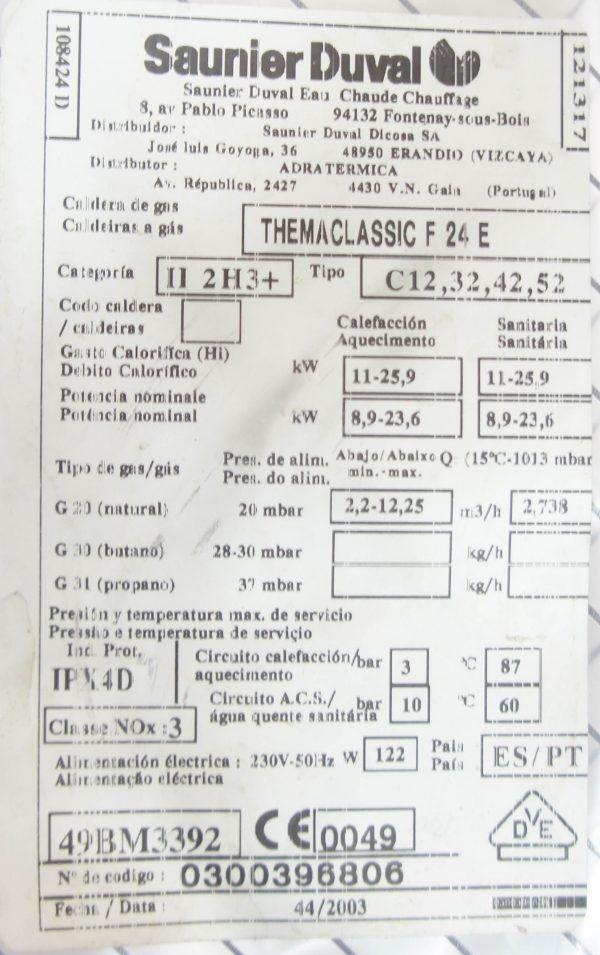 DISPLAY SAUNIER DUVAL THEMACLASSIC F24E 2004